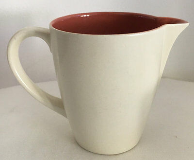 Poole England Twintone Creamer Jug Red Indian and Magnolia 1950s Mid Century