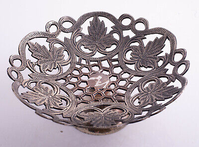 """9"""" Silverplate Pedestal Tray with Carved Leaves"""