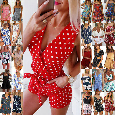 UK Womens Holiday Playsuit Romper Ladies Jumpsuit Summer Beach Shorts Size 8-16