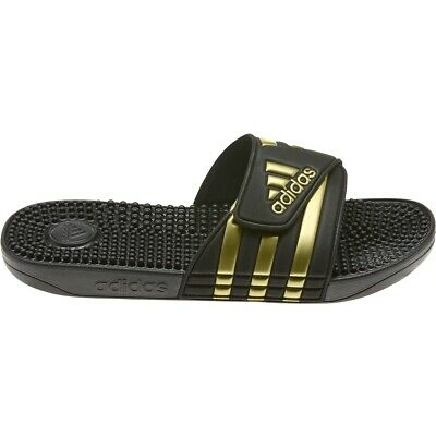 Mens Adidas Adissage Black Gold Slides Shower Sandals Athletic EG6517 Size 7-13