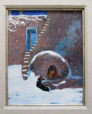 Signed Walker Taos Pueblo New Mexico Winter Horno Fireplace Oil Painting