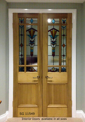 Spectacular Pair of Stained glass  interior Doors