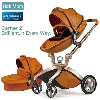 HOT MOM Pushchair 3in1 Travel System Stroller Pram Buggy WITH Bassinet Cot Brown