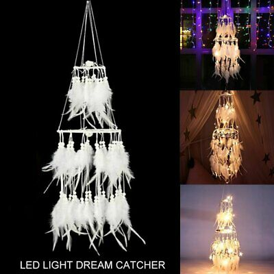 20LED Large Handmade Feather Dream Catcher Car Wall Hanging Ornament Craft Gifts