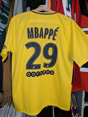 buy popular 18be1 cd8aa NIKE KYLIAN MBAPPE Paris Saint-Germain Away Jersey 17/18 PSG Yellow Size  Large