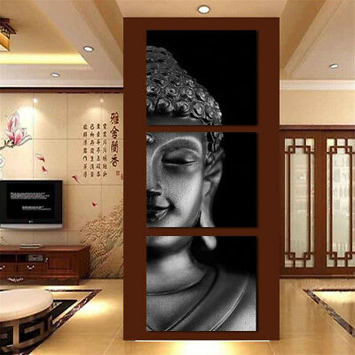 3Pcs Framed Buddha Abstract Art Oil Picture Canvas Print Painting Wall Decor