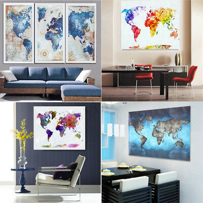 World Map Canvas Painting Print Picture Room Home Wall Art Decor Framed/Unframed
