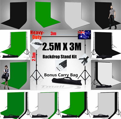 Photo Muslin Backdrop Black White Green Background Support Stand Studio KIT-2020