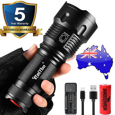 2019 50000lm USB Rechargeable Flashlight LED Tactical Work light Torch Lantern