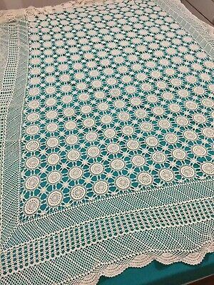 Large CROCHET TABLECLOTH Bedspread Overlay Lovely display piece 150cm by 225cm