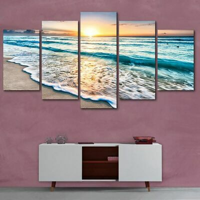 5pcs Sea Modern Art Oil Painting Print Canvas Picture Home Wall Decor Unframed