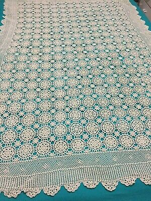 Large CROCHET TABLECLOTH Bedspread Overlay lovely display piece
