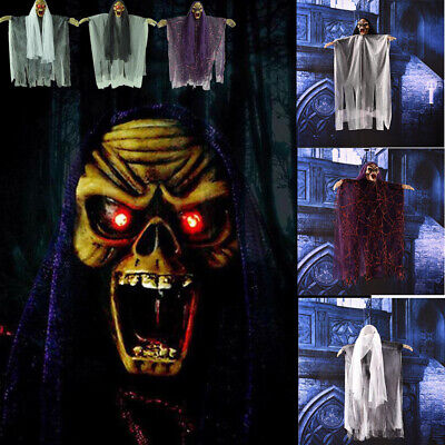 Halloween Electric Voice Hanging Skull Skeleton Ghost Horror Props Decorations