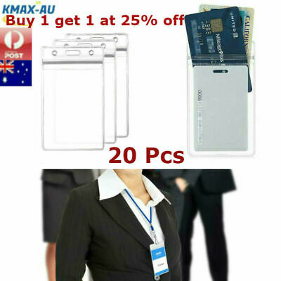 20 Quality Vertical Clear Plastic ID CARD HOLDER POUCH Pass Lanyard BADGE Work