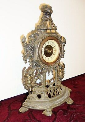A Lovely Brass Decorative Antique West German Mantle Clock
