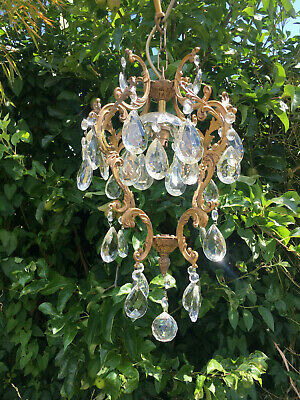 Elegant  French Vintage  Rococo Style Crystal  Cage Chandelier Rewired