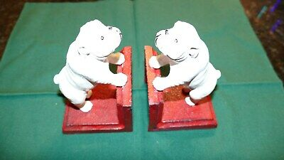 A Charming Pair Of Antique Cast Iron British Bulldog Bookends