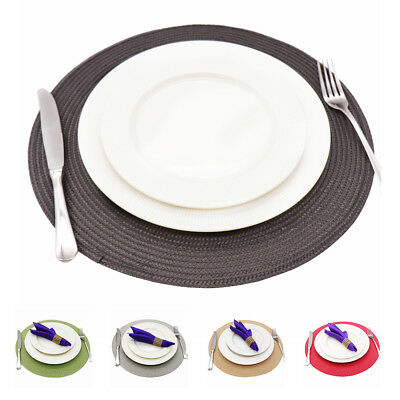 Place Mats And Coasters Dining Table Placemats Non-Slip Washable Circular Weaved