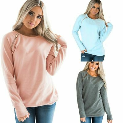UK Womens Long Sleeve Crew Neck Jumper Sweatshirts Autumn Pullover Tops Hoodies