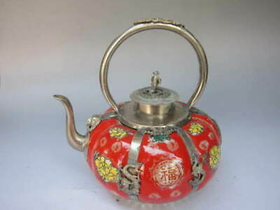 Chinese OLD COPPER PLATING SILVER INLAID Porcelain painting TEAPOT TRR