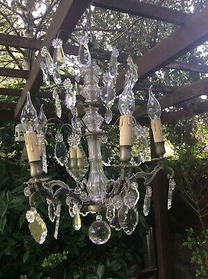ANTIQUE CRYSTAL FRENCH CHANDELIER LATE 19TH CENTURY c1880 BRONZE