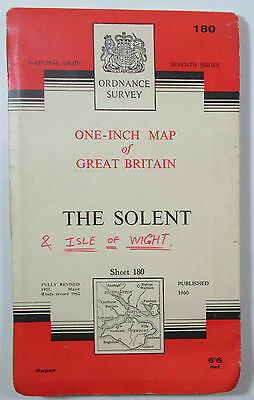 1963 old vintage OS Ordnance Survey Seventh Series one inch map 180 The Solent