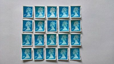 20 Unfranked Second Class Blue Security Stamps - Grade B (Off Paper - No Gum)