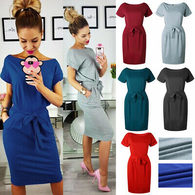 UK Womens Pocket Midi Dress Casual Ladies Short Sleeve Evening Party Dresses