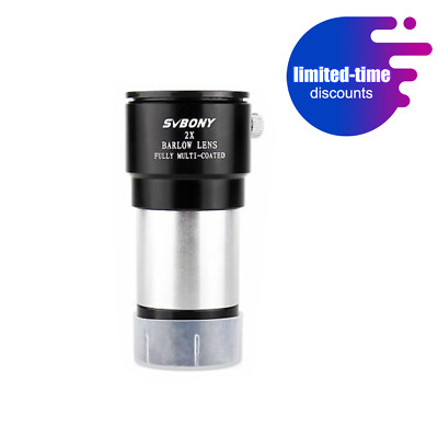 "SVBONY 1.25"" 31.7mm ""2X"" Achromatic FMC Barlow Lens for Astro Telescope Eyepiece"