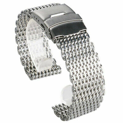 18/20/22/24mm Stainless Steel Dive Shark Mesh Milanese Watch Bracelet Strap rty