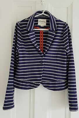 Johnnie B Girl's Fab Blue/Grey Marl Striped Jersey Jacket 11-12 Yrs  Exc Cond