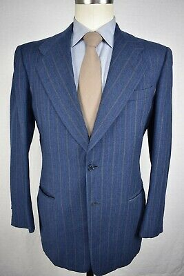 1940's Unbranded Medium Blue Striped Wool Two Button Two Piece Suit Size: 38R