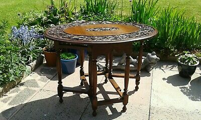 Antique Gateleg Oak Table  Drop Leave Table With Chinese  carved Top☆Very Rare