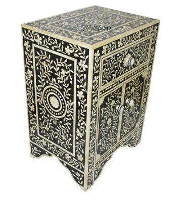 Handmade Bone Inlay Floral Leaf Design Black Bedside Table