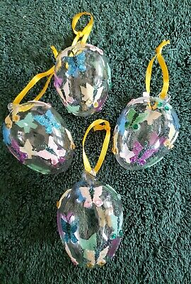 Pier One Imports Lot of 4 Glass Easter Ornaments. Glass eggs w/butterflies