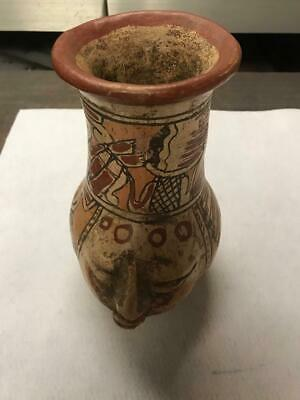 Very Rare Moche Culture Polychrome Human Face Vase