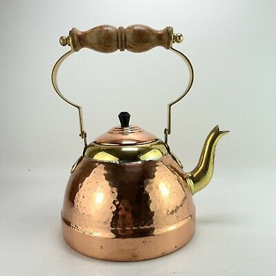 Vintage Hammered Copper Stove Top Kettle Camping Barge Aga Brass Wooden Handle