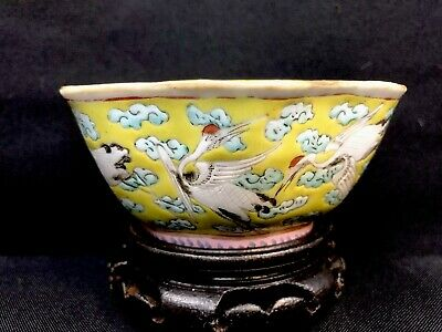 Gorgeous chinese porcelain Qing Period Bowl With Traditional Crane Design