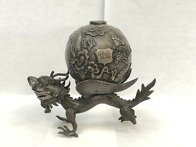 Magnificent Sterling Silver Chinese Dragon Antique Incense Burner