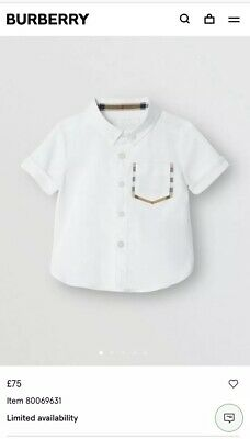 BURBERRY Baby Short-sleeve Check Detail Cotton Oxford Shirt RRP £75
