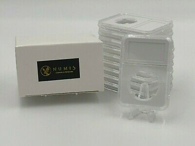 NUMIS: 10 Coin Holder Slabs In White 30mm Half Dollars Case with Label NGC PCGS