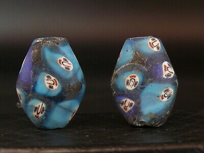 "(eV014q)  Tibet:   2  Old  glass Mosaic  Beads. ""with faces"". Rares!!!"