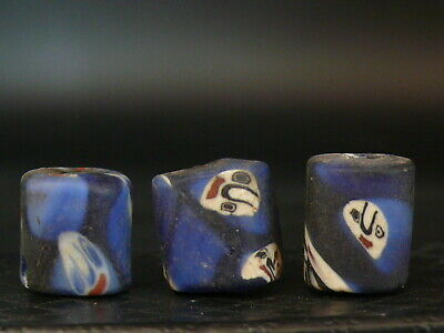 "(eV014k)  Tibet:   3  Old  glass Mosaic  Beads. ""with faces"". Rares!!!"