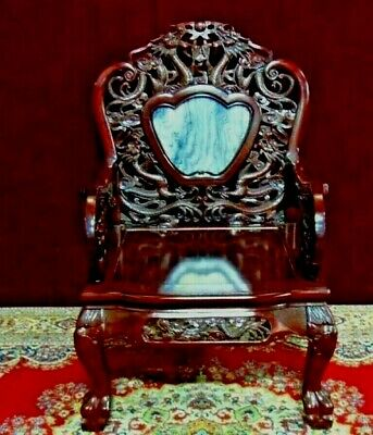 Asain Carved  Dragon Chair Throne  Inlaid Blue Stone
