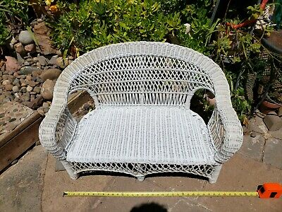 """Vtg Antique Child size Wood Wicker  seat / 22"""" Doll size Chair"""