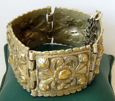 ANTIQUE 1800s.BRONZE BRACELET,SILVERED in 5 PARTS,AMAZING FLORAL DECORATION # 7