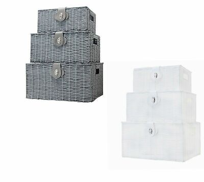 Vencier SET OF 3 Resin Wicker Woven Storage Baskets Hamper Box With Lid & Lock