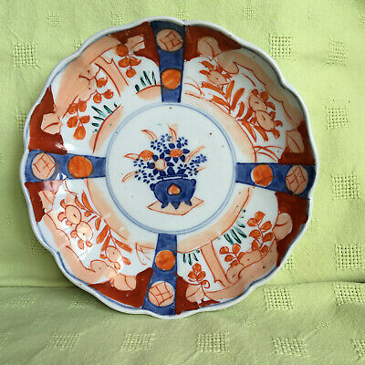 Antique Japanese Imari Plate Scalloped Edge Centre Floral Design Red Orange Blue