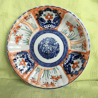 Antique Japanese Imari Plate Scalloped Edge Central Bird Design Red Orange Blue