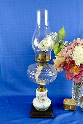 Antique Composite Oil Lamp With Ceramic Hand Painted Stem Iron Base